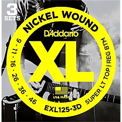 D'Addario EXL125-3D Electric Guitar Strings 3-Pack (EXL125-3D)