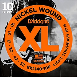 D'Addario EXL140 Light Top/Heavy Bottom Electric Guitar Strings 10-Pack (EXL140-10P)