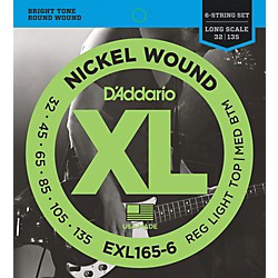 D'Addario EXL165-6 XL 6-String Bass Soft/Regular String Set (EXL165-6)