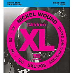 D'Addario EXL170S Light Nickel Wound Short Electric Bass Strings (EXL170S)