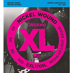 D'Addario EXL170SL Regular Light Nickel Wound Super Long Scale Bass Strings (EXL170SL)