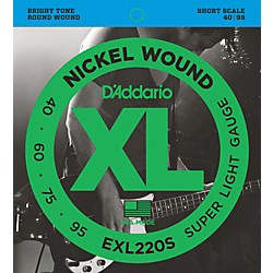 D'Addario EXL220S XL Nickel Super Light Short Scale Electric Bass Strings (EXL220S)
