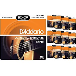 D'Addario EXP10 Coated 80/20 Bronze Extra Light Acoustic Guitar Strings  - 10 Pack (10 KIT - EXP110)