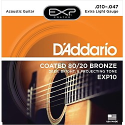 D'Addario EXP10 Coated 80/20 Bronze Extra Light Acoustic Guitar Strings (EXP10)