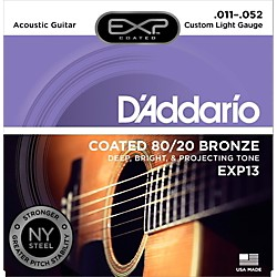 D'Addario EXP13 Coated 80/20 Bronze Custom Light Acoustic Guitar Strings (EXP13)