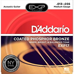 D'Addario EXP17 Coated Phosphor Bronze Medium Acoustic Guitar Strings (EXP17)