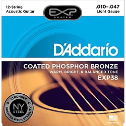 D'Addario EXP38 12-String Coated Phosphor Bronze Light Acoustic Guitar Strings (EXP38)