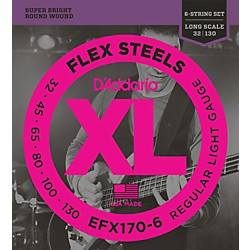D'Addario Flexsteels Long Scale 6-String Bass Guitar Strings (32-130) (EFX170-6)
