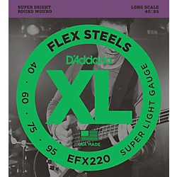 D'Addario Flexsteels Long Scale Bass Guitar Strings (40-95) (EFX220)