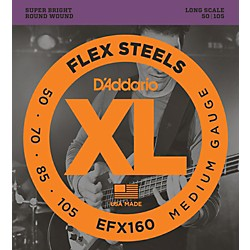 D'Addario Flexsteels Long Scale Bass Guitar Strings (50-105) (EFX160)