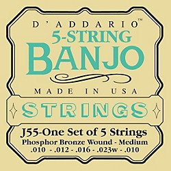 D'Addario J55 Phosphor Bronze Medium Banjo Strings (J55)
