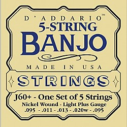 D'Addario J60+ Nickel Light-Plus Banjo Strings (J60+)
