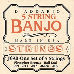D'Addario J69B 5-String Banjo PB Light Ball Strings (J69B)