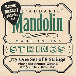 D'Addario J75 Medium/Heavy Phosphor Bronze Wound Bluegrass Mandolin Strings (J75)