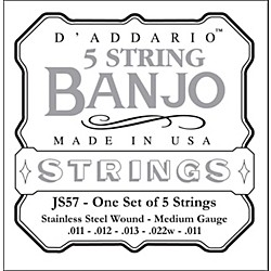 D'Addario JS57 Stainless Steel Medium Banjo Strings (JS57)