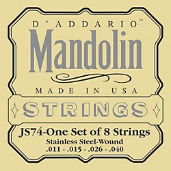D'Addario JS74 Stainless Steel Mandolin Strings Medium (JS74)