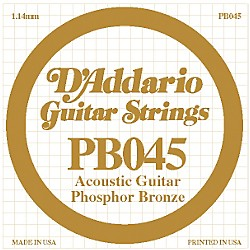 D'Addario PB045 Phosphor Bronze Single Acoustic String (PB045)