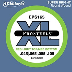 D'Addario ProSteels EPS165 Light Top/Medium Bottom Long Scale Bass Strings (EPS165)