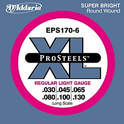 D'Addario ProSteels EPS170-6 Regular Light 6-String Bass Strings (EPS170-6)