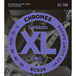 D'Addario XL Chromes Jazz Light Electric Guitar Strings ECG24 Flatwound (ECG24)