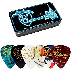 D'Andrea 351 Vintage Classic Celluloid Picks - Assorted Colors - 1 Dozen in Tin Container (TNVCT)