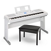 Yamaha DGX660 88-Key Portable Grand Piano White with Bench