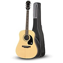 Epiphone DR-100 Acoustic Guitar Natural with Road Runner RR1AG Gig Bag