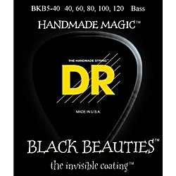 DR Strings BLACK BEAUTIES Coated 5-String Bass Light (40-120) (BKB5-40)