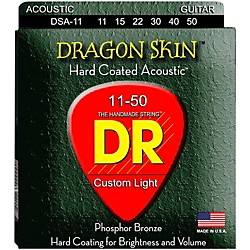 DR Strings DSA-11 Dragon Skin K3 Coated Acoustic Strings Medium-Light (DSA-11)