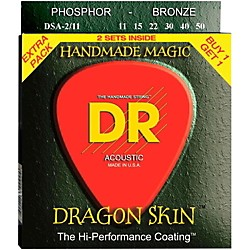 DR Strings Dragon Skin 2 Pack: Clear Coated Acoustic Phosphor Bronze Medium-Light (11-50) (DSA-2/11)