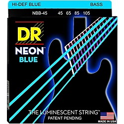 DR Strings Hi-Def NEON Blue Coated Medium 4-String (45-105) Bass Guitar Strings (NBB-45)