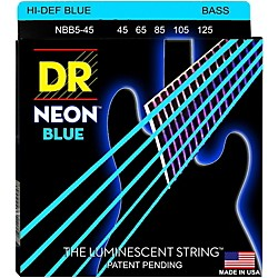 DR Strings Hi-Def NEON Blue Coated Medium 5-String (45-125) Bass Guitar Strings (NBB5-45)