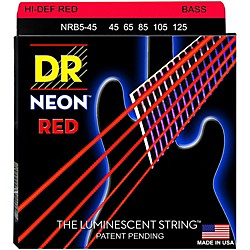 DR Strings Hi-Def NEON Blue Coated Medium 5-String (45-125) Bass Guitar Strings (NRB5-45)