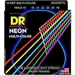 DR Strings Hi-Def NEON Multi-Color Coated Lite Acoustic Guitar Strings (NMCA-10)