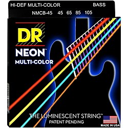 DR Strings Hi-Def NEON Multi-Color Coated Medium 4-String Bass Strings (MCB-45)