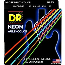 DR Strings Hi-Def NEON Multi-Color Coated Medium 5-String Bass Strings (NMCB5-45)