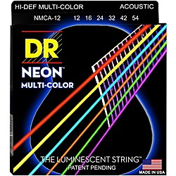 DR Strings Hi-Def NEON Multi-Color Coated Medium Acoustic Guitar Strings (NMCA-12)