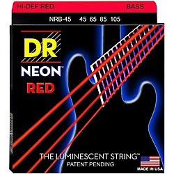 DR Strings Hi-Def NEON Red Coated Medium 4-String (45-105) Bass Guitar Strings (NRB-45)