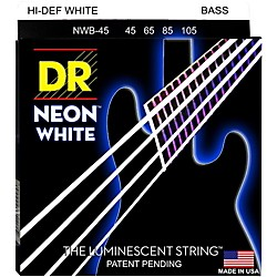 DR Strings Hi-Def NEON White Coated Medium 4-String Bass Strings (NWB-45)