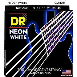 DR Strings K3 NEON Hi-Def White Electric Lite-Heavy Guitar Strings (NWE-9/46)