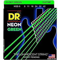 DR Strings NEON Hi-Def Green SuperStrings Light Electric Guitar Strings (NGE-9)