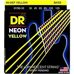 DR Strings NEON Hi-Def Yellow Bass SuperStrings Medium 6-String (NYB6-60 Â)