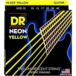 DR Strings NEON Hi-Def Yellow SuperStrings Medium Electric Guitar Strings (NYE-10)