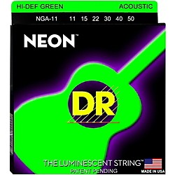 DR Strings NGA-11 NEON Hi-Def Phosphorescent Green Acoustic Strings Medium-Light (NGA-11)