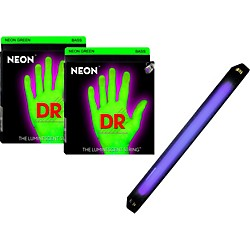DR Strings Neon Phosphorescent Green Medium 4 String Bass Strings with Free American DJ Super Black Light (NeonG-45 wBL)