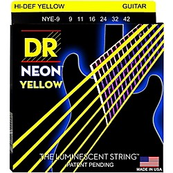 DR Strings Neon Phosphorescent Yellow Electric Guitar Strings Light (NYE-9)