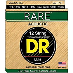 DR Strings Rare Phosphor Bronze Lite 12-String Acoustic Guitar Strings (RPL-10/12)