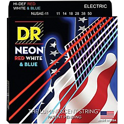 DR Strings USA Flag Sets: Hi-Def NEON Red, White & Blue Electric Guitar Heavy Strings (NUSAE-11)