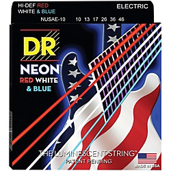 DR Strings USA Flag Sets: Hi-Def NEON Red, White & Blue Electric Guitar Medium Strings (NUSAE-10)
