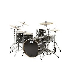 "DW Collector's Series 4-Piece Shell Pack w/24"" Bass Drum Black Velvet Chrome Hardware (DRKT66C033)"